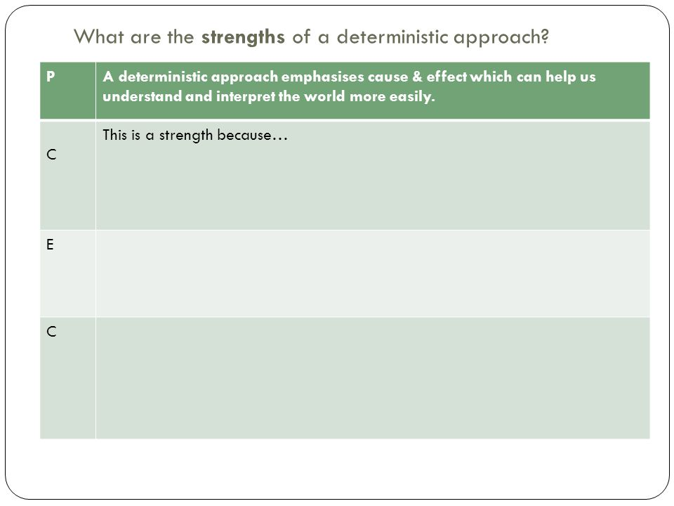 What are the strengths of a deterministic approach