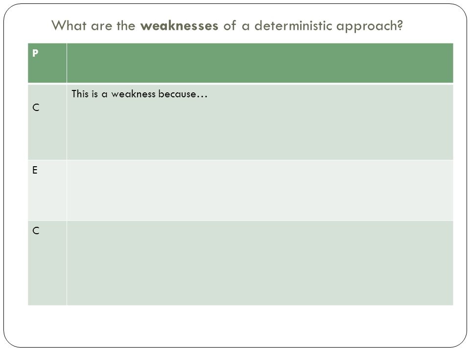 What are the weaknesses of a deterministic approach