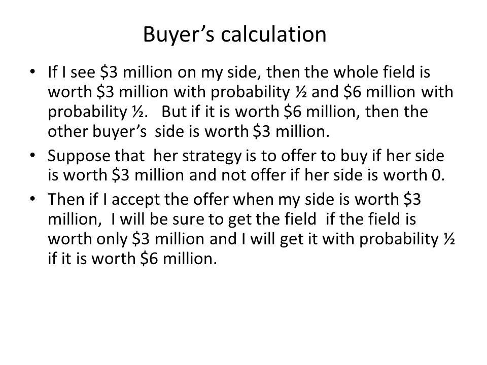Buyer's calculation