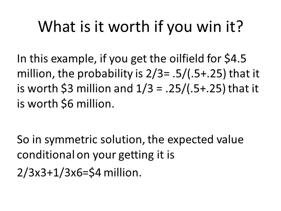 What is it worth if you win it