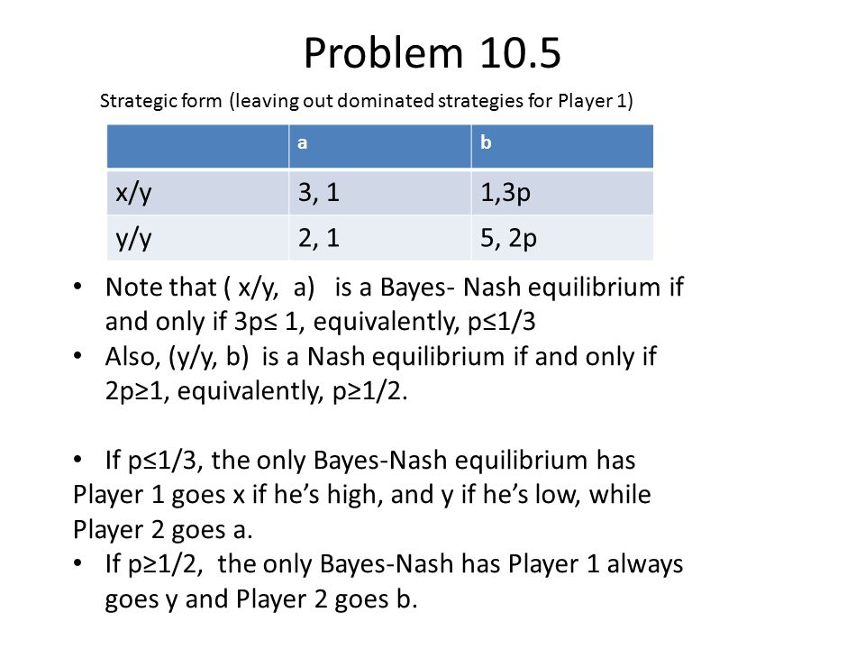 Problem 10.5 Strategic form (leaving out dominated strategies for Player 1) a. b. x/y. 3, 1. 1,3p.