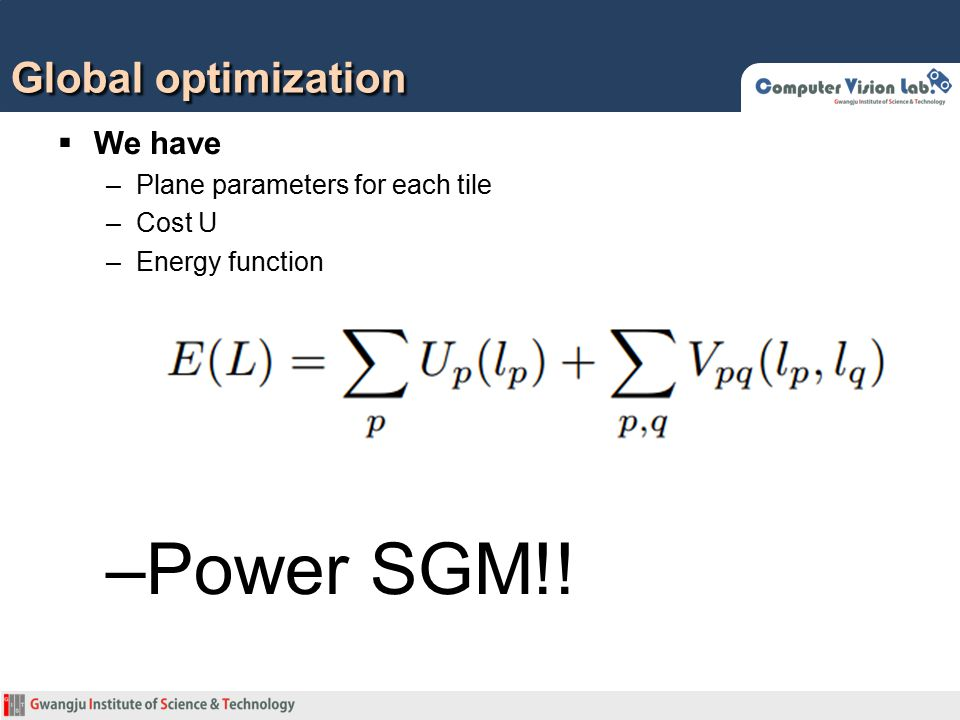 Power SGM!! Global optimization We have Plane parameters for each tile