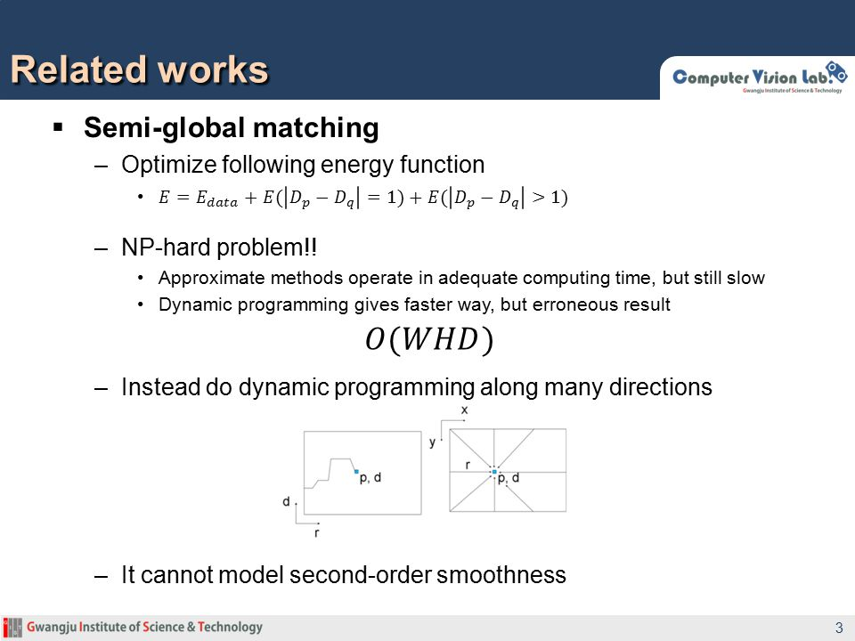 Related works 𝑂(𝑊𝐻𝐷) Semi-global matching