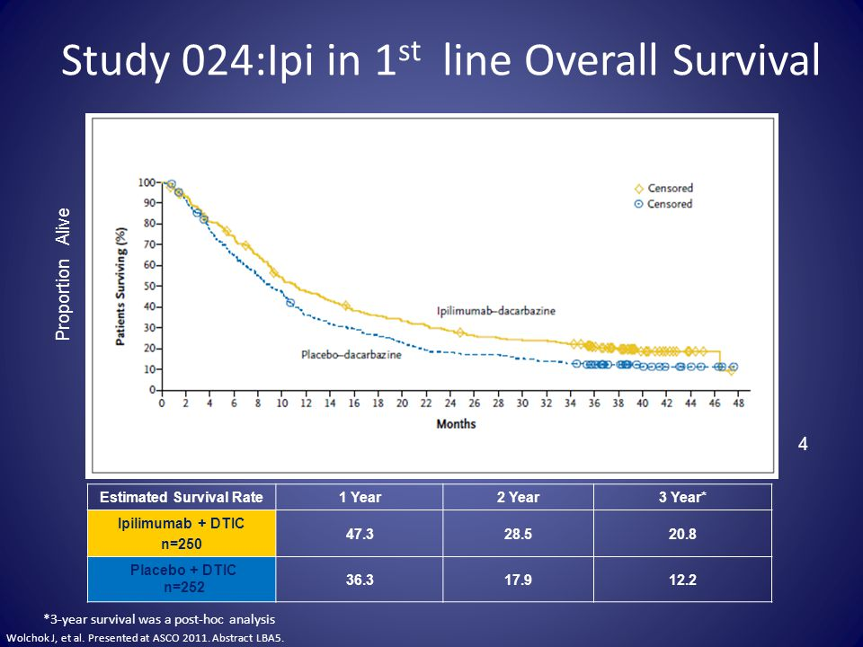 Study 024:Ipi in 1st line Overall Survival