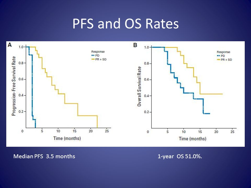 PFS and OS Rates Median PFS 3.5 months 1-year OS 51.0%.