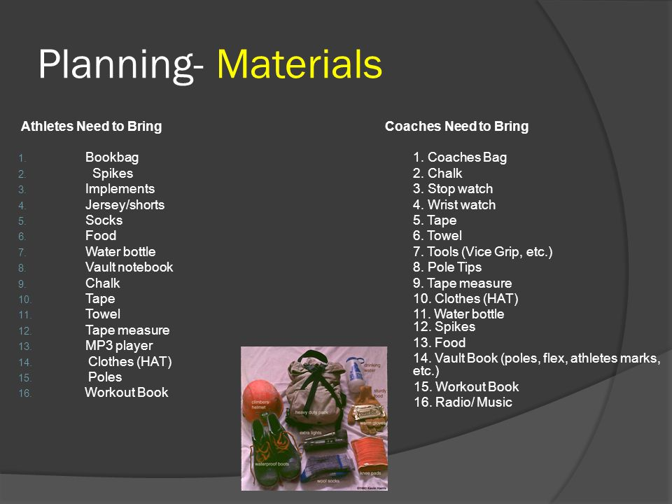 Planning- Materials Athletes Need to Bring Bookbag Spikes Implements