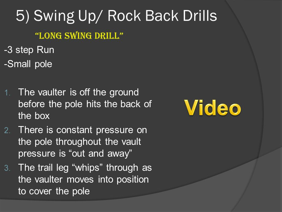 5) Swing Up/ Rock Back Drills