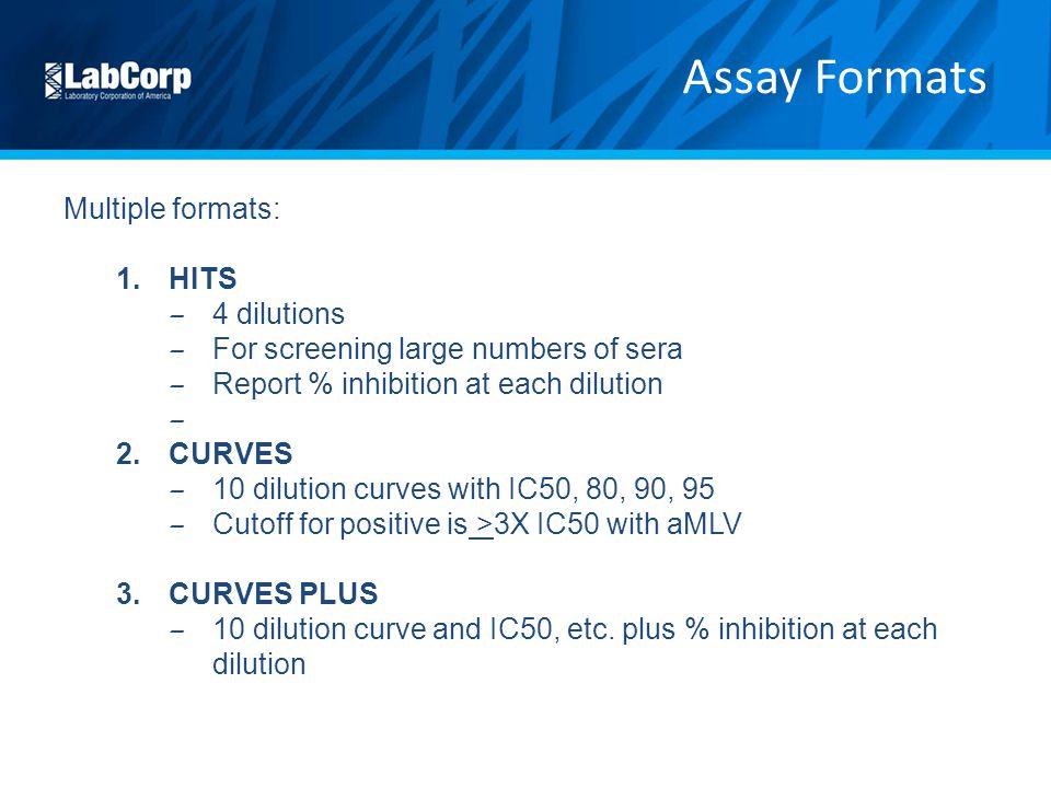 Assay Formats Multiple formats: HITS 4 dilutions