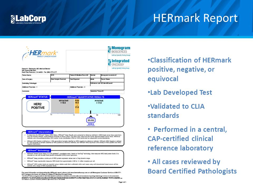 HERmark Report Classification of HERmark positive, negative, or equivocal. Lab Developed Test. Validated to CLIA standards.