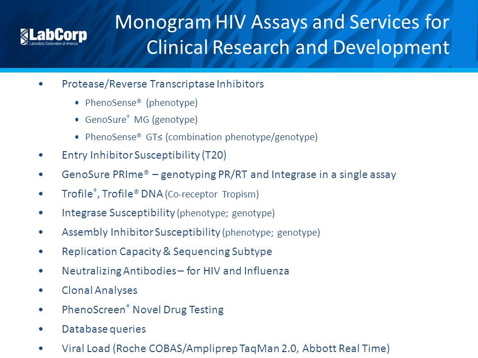 Monogram HIV Assays and Services for Clinical Research and Development
