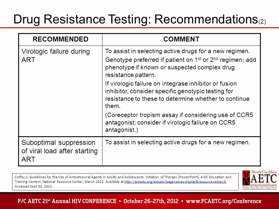 Drug Resistance Testing: Recommendations(2)