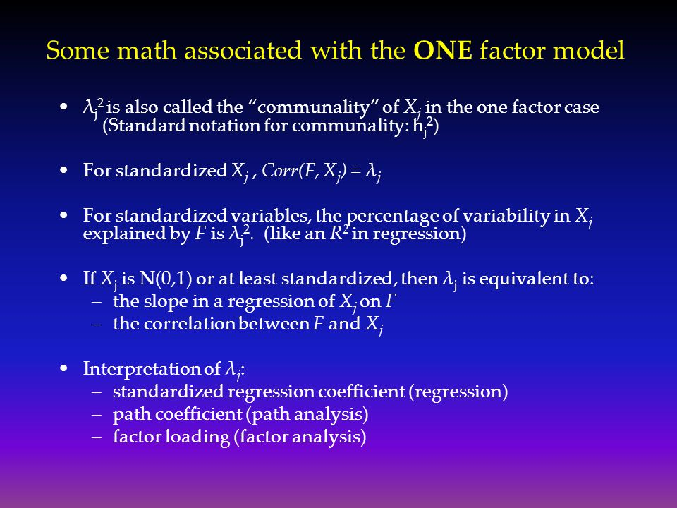 Some math associated with the ONE factor model