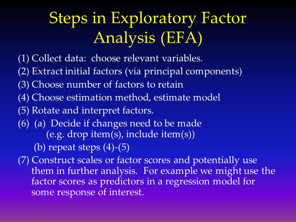 Steps in Exploratory Factor Analysis (EFA)