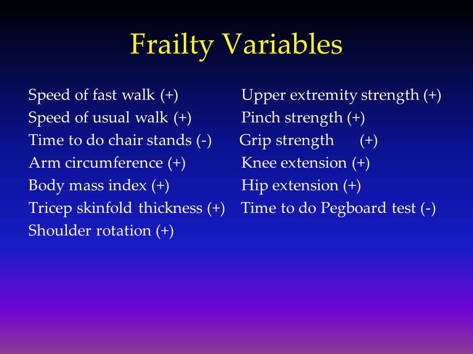 Frailty Variables Speed of fast walk (+) Upper extremity strength (+)