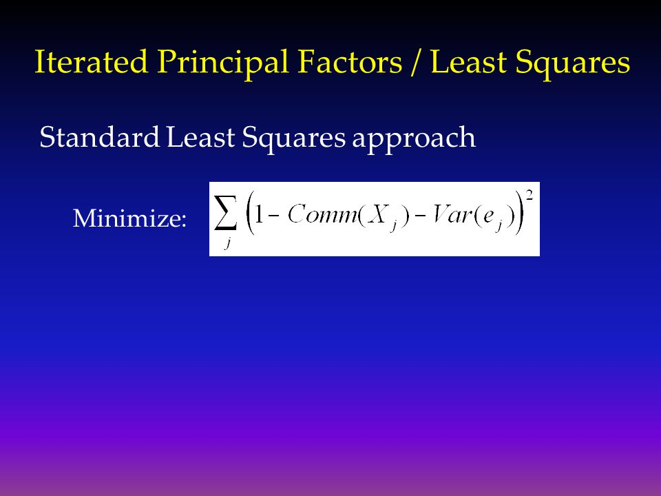 Iterated Principal Factors / Least Squares