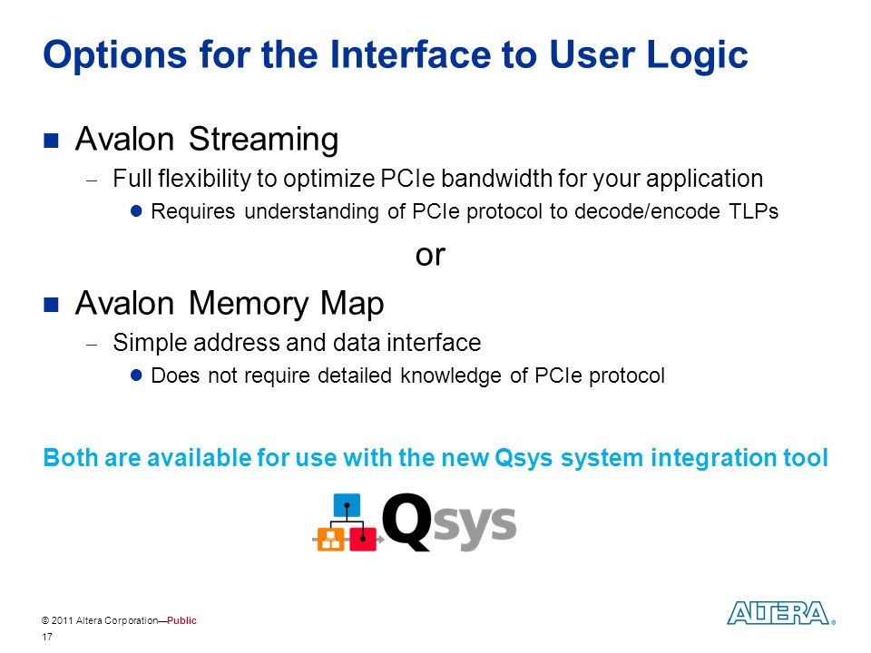 Options for the Interface to User Logic