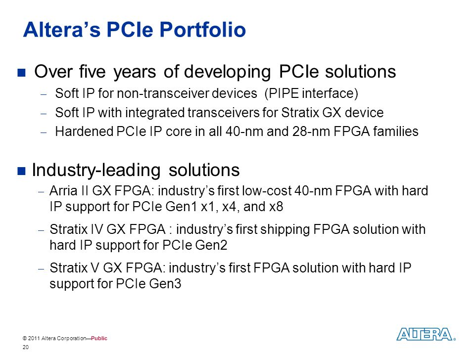 Altera's PCIe Portfolio