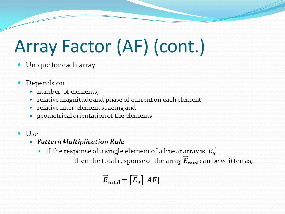Array Factor (AF) (cont.)