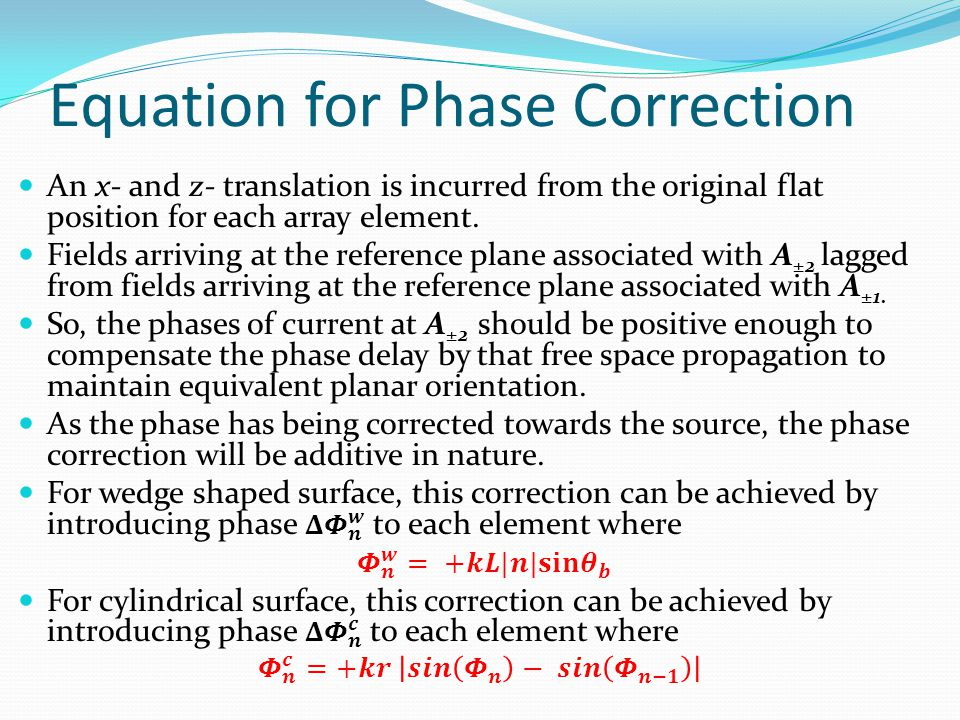 Equation for Phase Correction