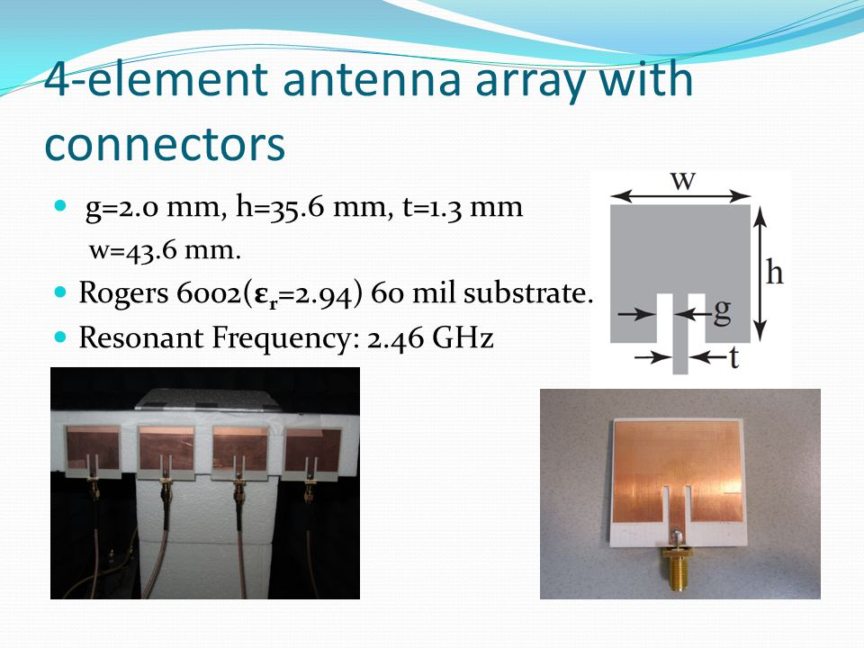 4-element antenna array with connectors