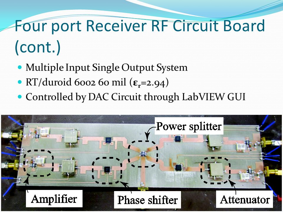 Four port Receiver RF Circuit Board (cont.)