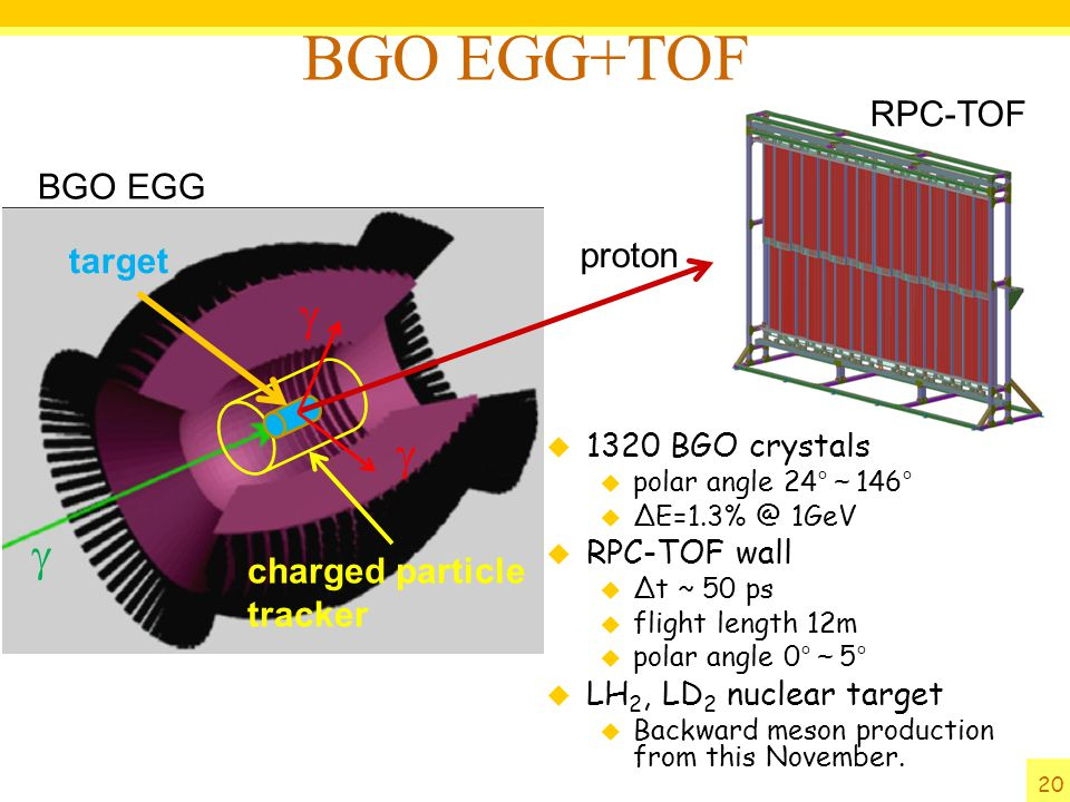 BGO EGG+TOF g g g RPC-TOF BGO EGG proton target charged particle