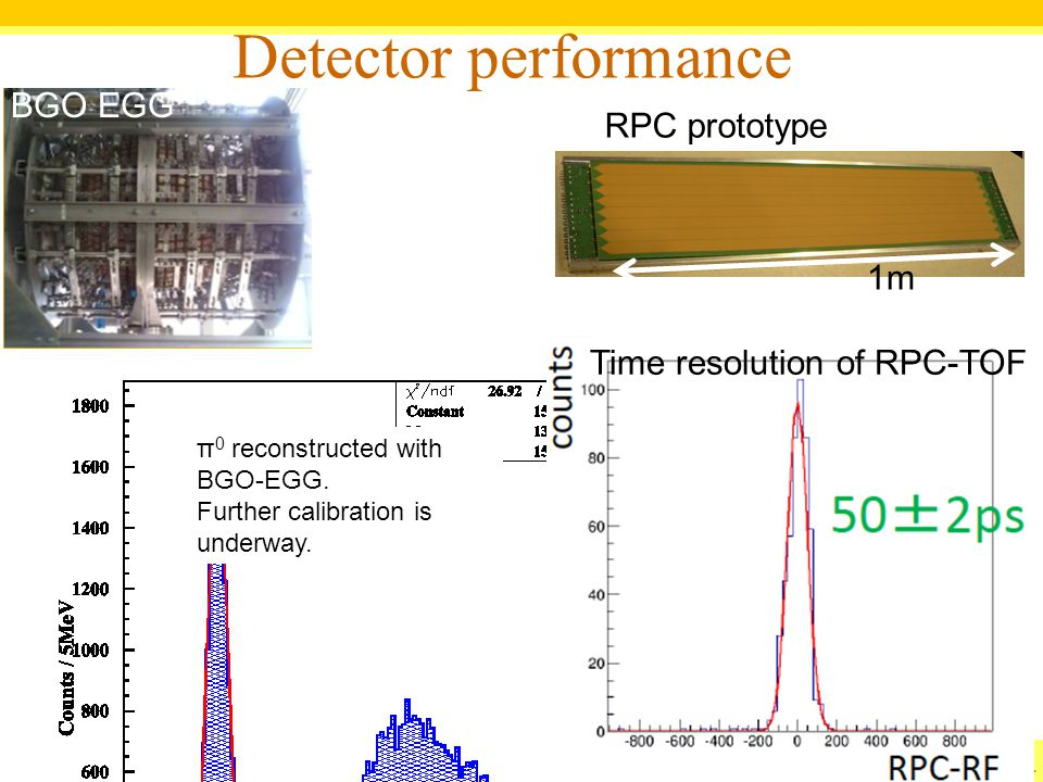 Detector performance BGO EGG RPC prototype 1m RPC prototype
