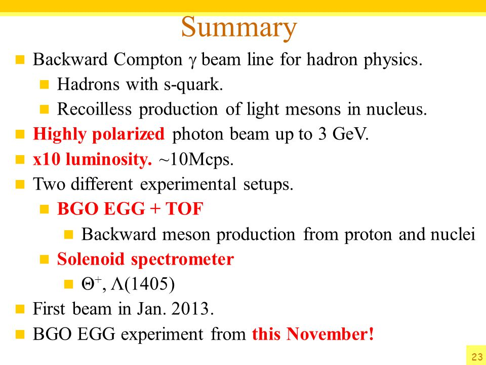 Summary Backward Compton g beam line for hadron physics.