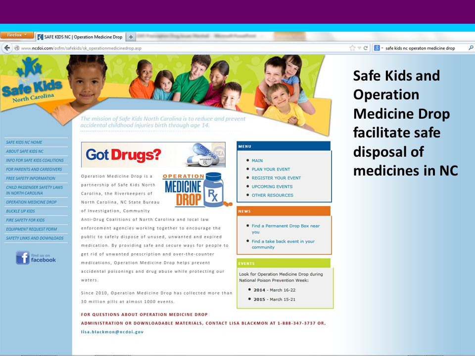 Safe Kids and Operation Medicine Drop facilitate safe disposal of medicines in NC
