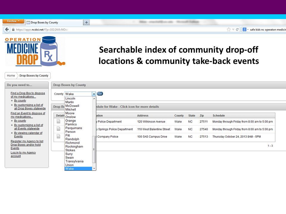 Searchable index of community drop-off locations & community take-back events
