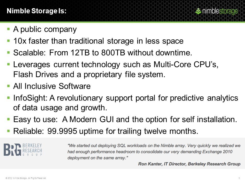10x faster than traditional storage in less space
