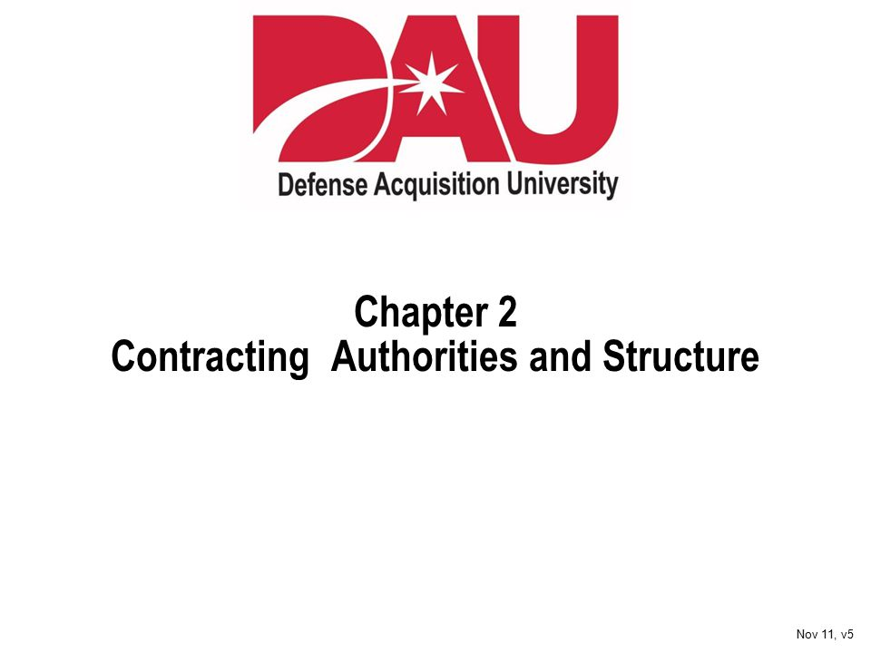 Chapter 2 Contracting Authorities and Structure