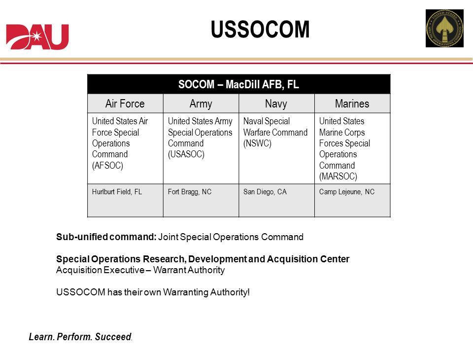 USSOCOM SOCOM – MacDill AFB, FL Air Force Army Navy Marines