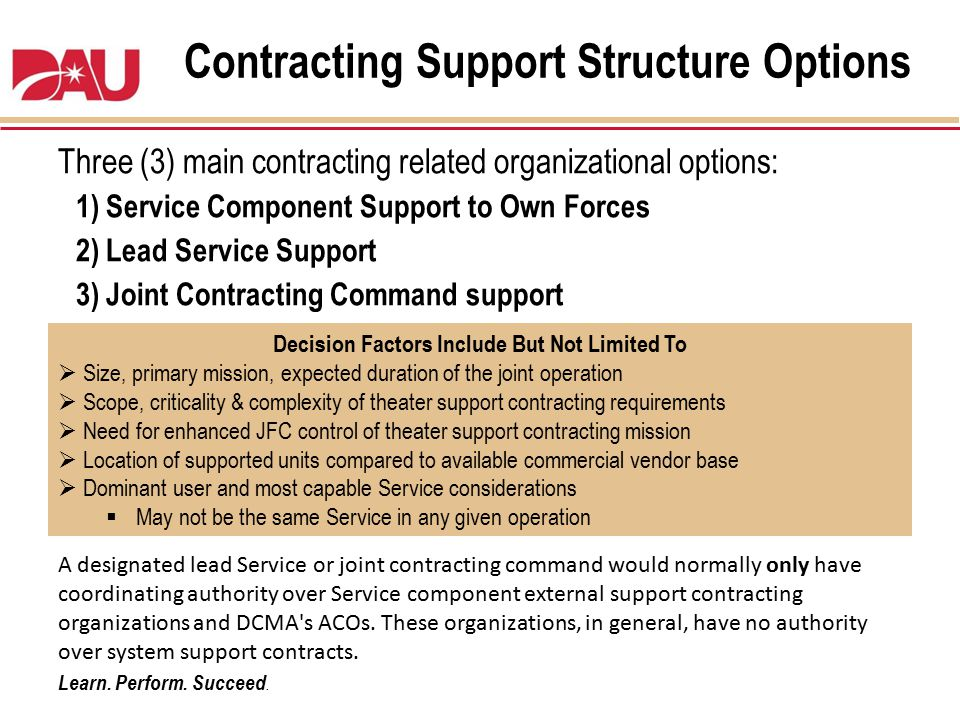 Contracting Support Structure Options