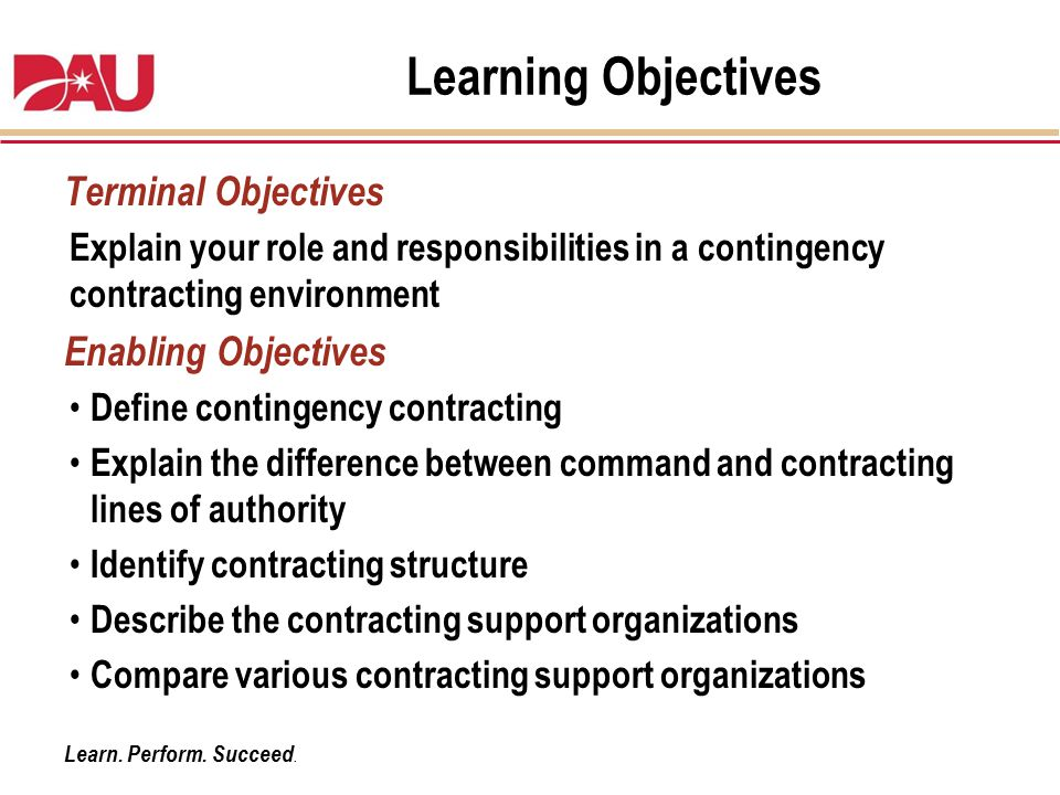 Learning Objectives Terminal Objectives Enabling Objectives