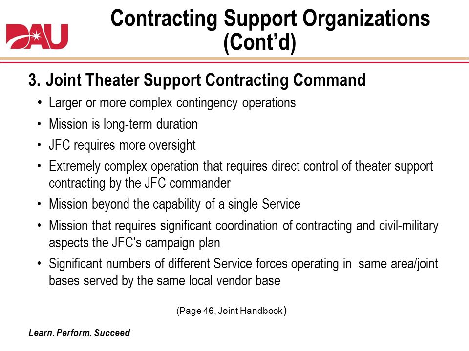 Contracting Support Organizations (Cont'd)