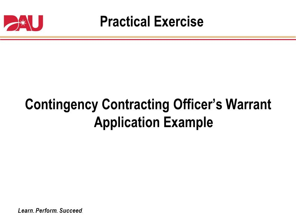 Contingency Contracting Officer's Warrant Application Example