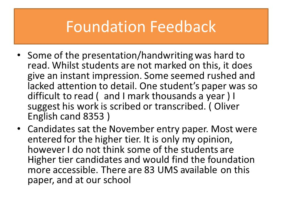 Foundation Feedback