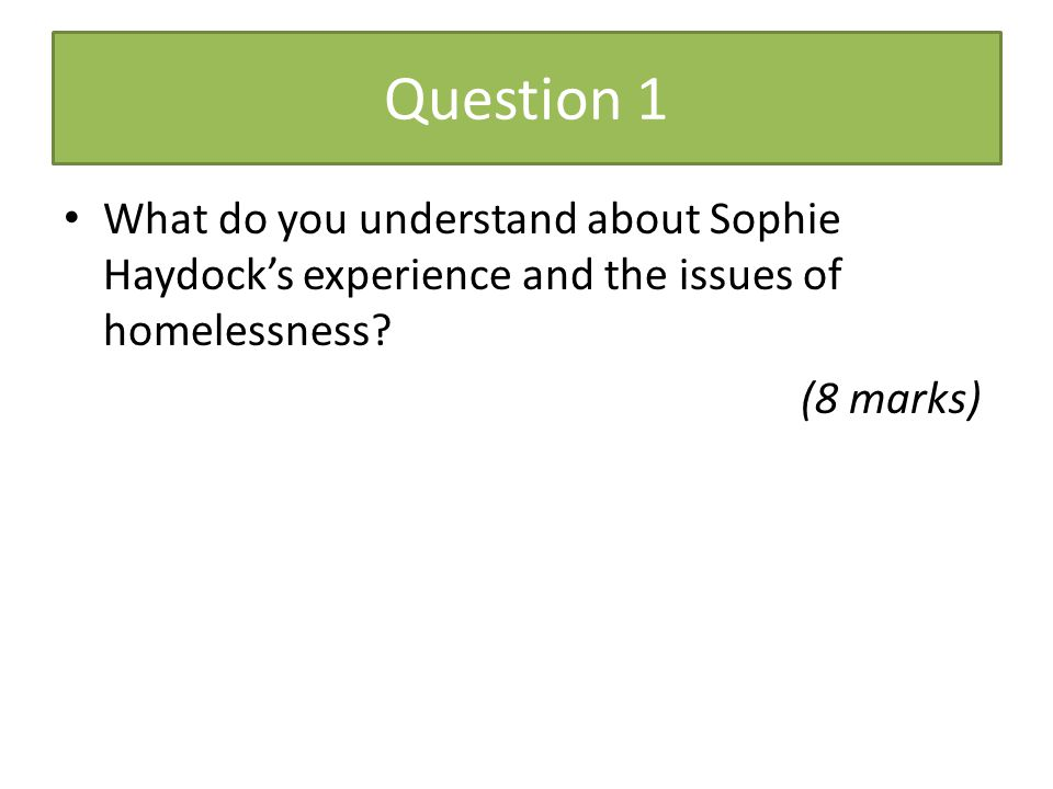 Question 1 What do you understand about Sophie Haydock's experience and the issues of homelessness