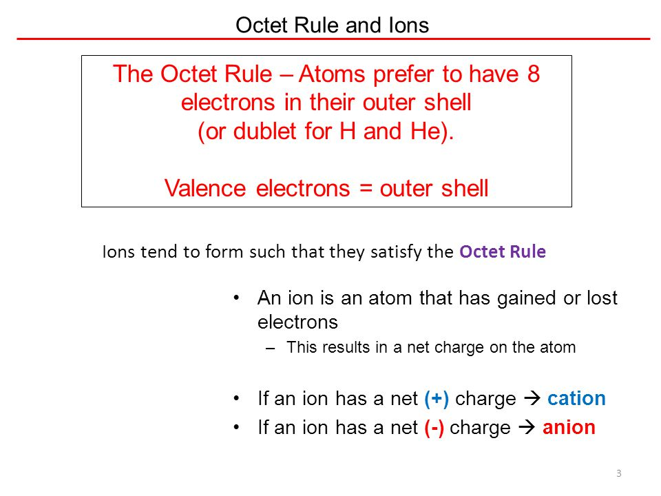 The Octet Rule – Atoms prefer to have 8 electrons in their outer shell