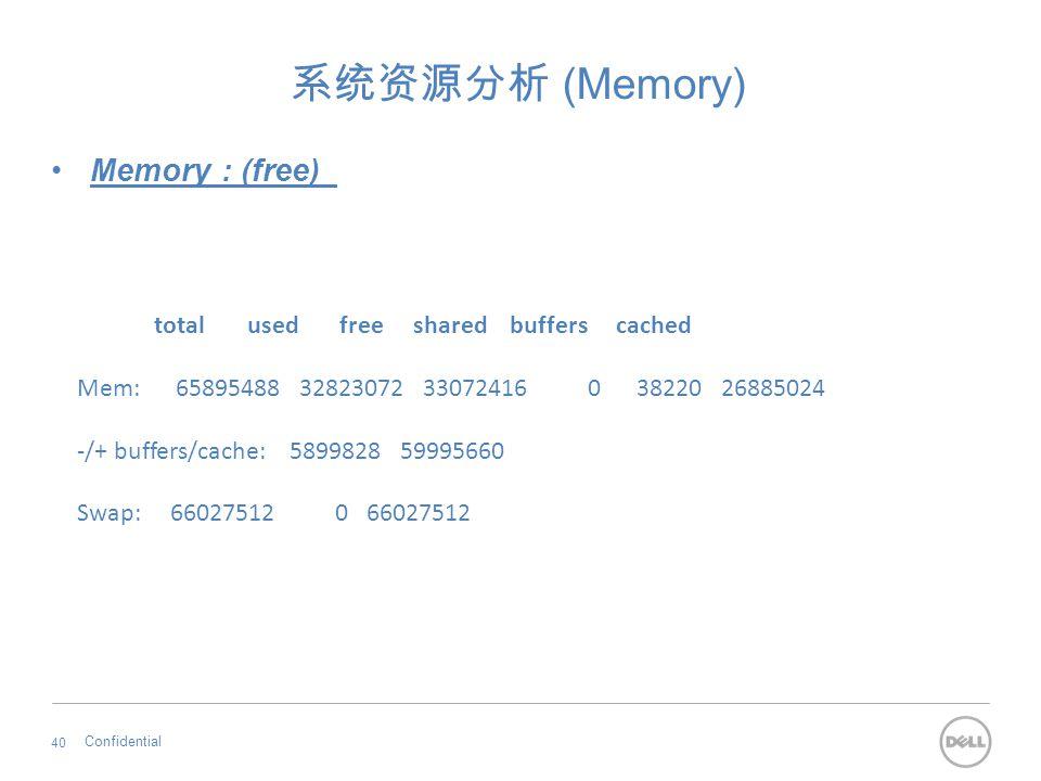 系统资源分析 (Memory) Memory : (free) total used free shared buffers cached