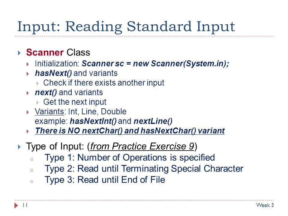 Input: Reading Standard Input