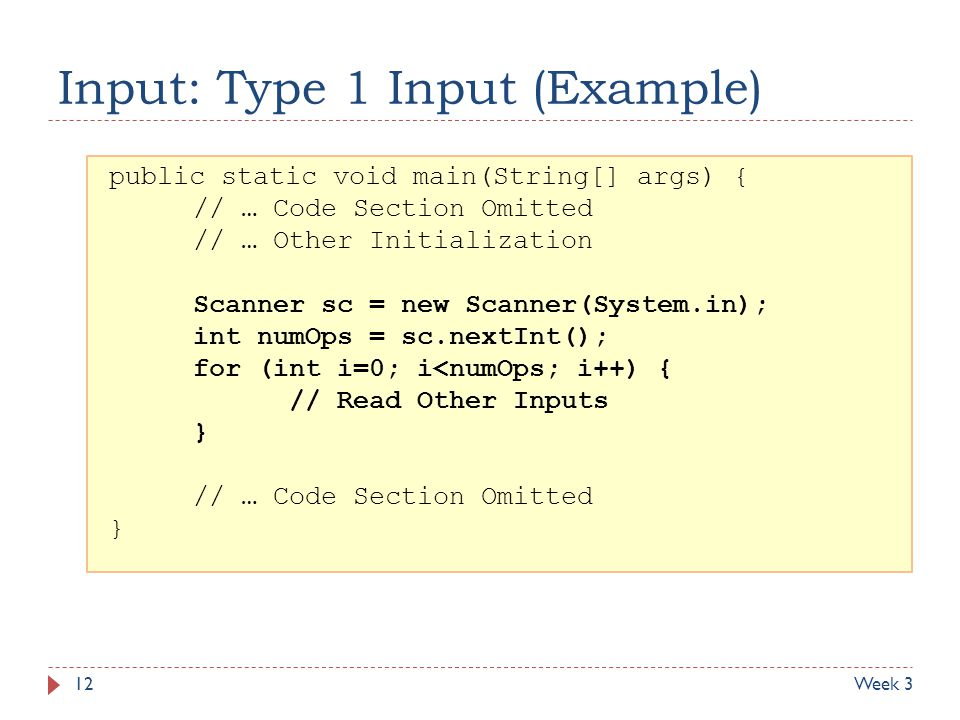 Input: Type 1 Input (Example)