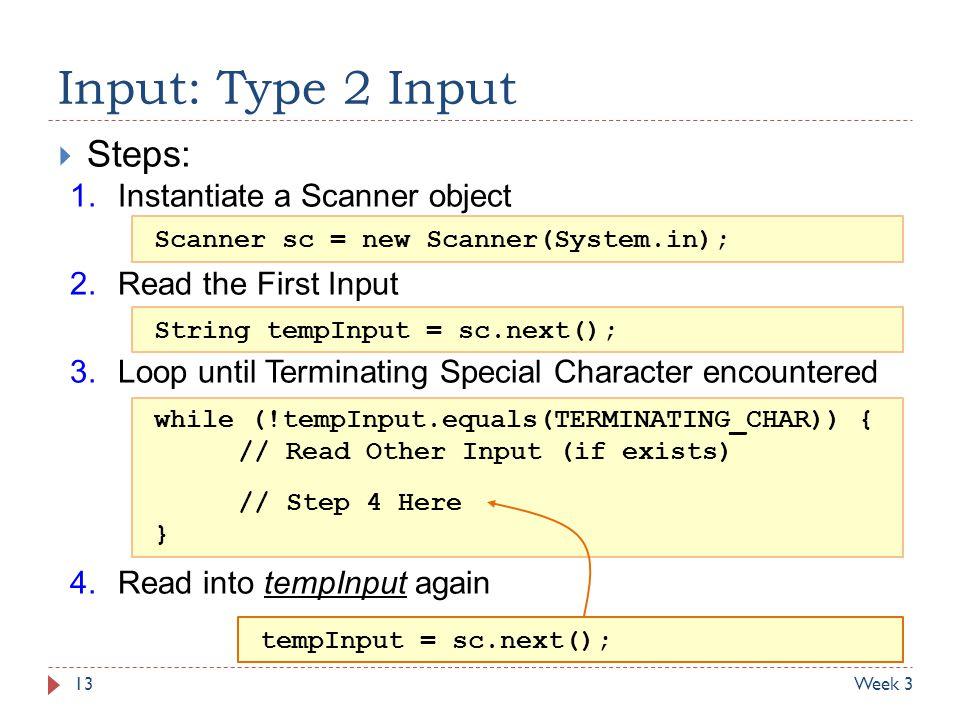 Input: Type 2 Input Steps: Instantiate a Scanner object