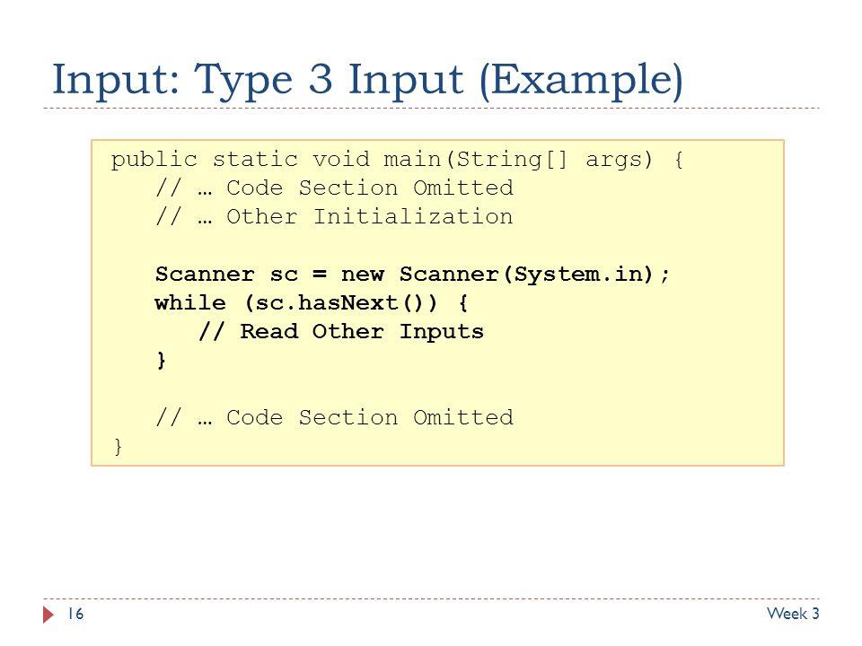 Input: Type 3 Input (Example)