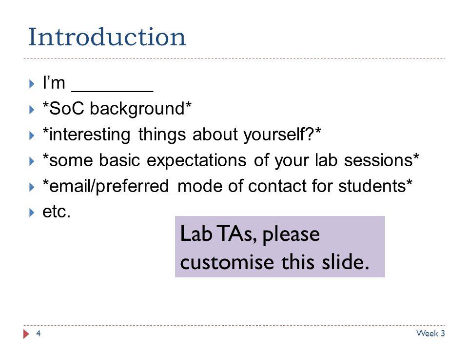 Introduction Lab TAs, please customise this slide. I'm ________