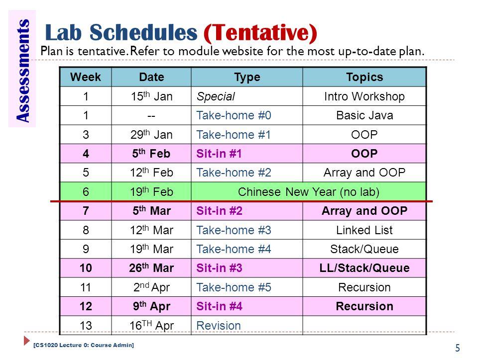 Lab Schedules (Tentative)