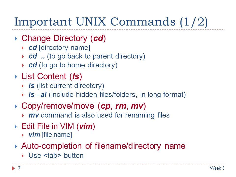 Important UNIX Commands (1/2)