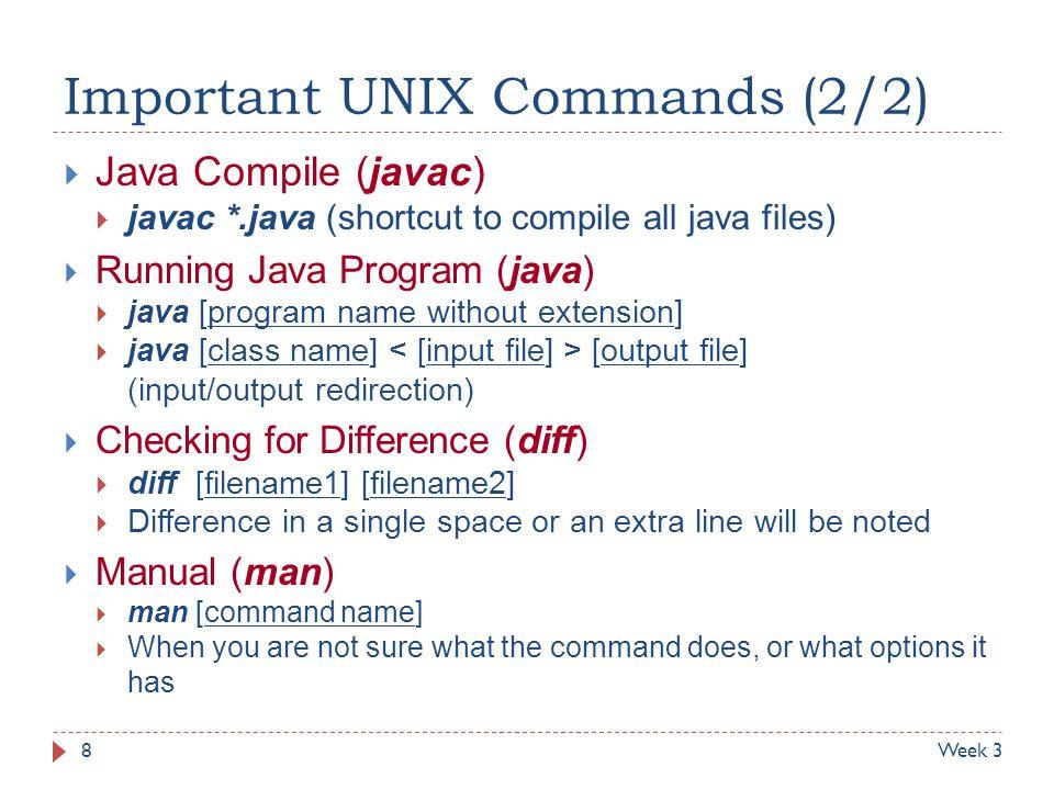 Important UNIX Commands (2/2)