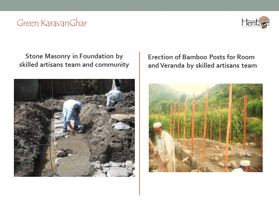 Stone Masonry in Foundation by skilled artisans team and community